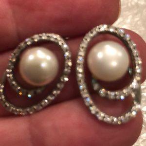 Genuine Pearls & CZ Sterling Silver Earrings